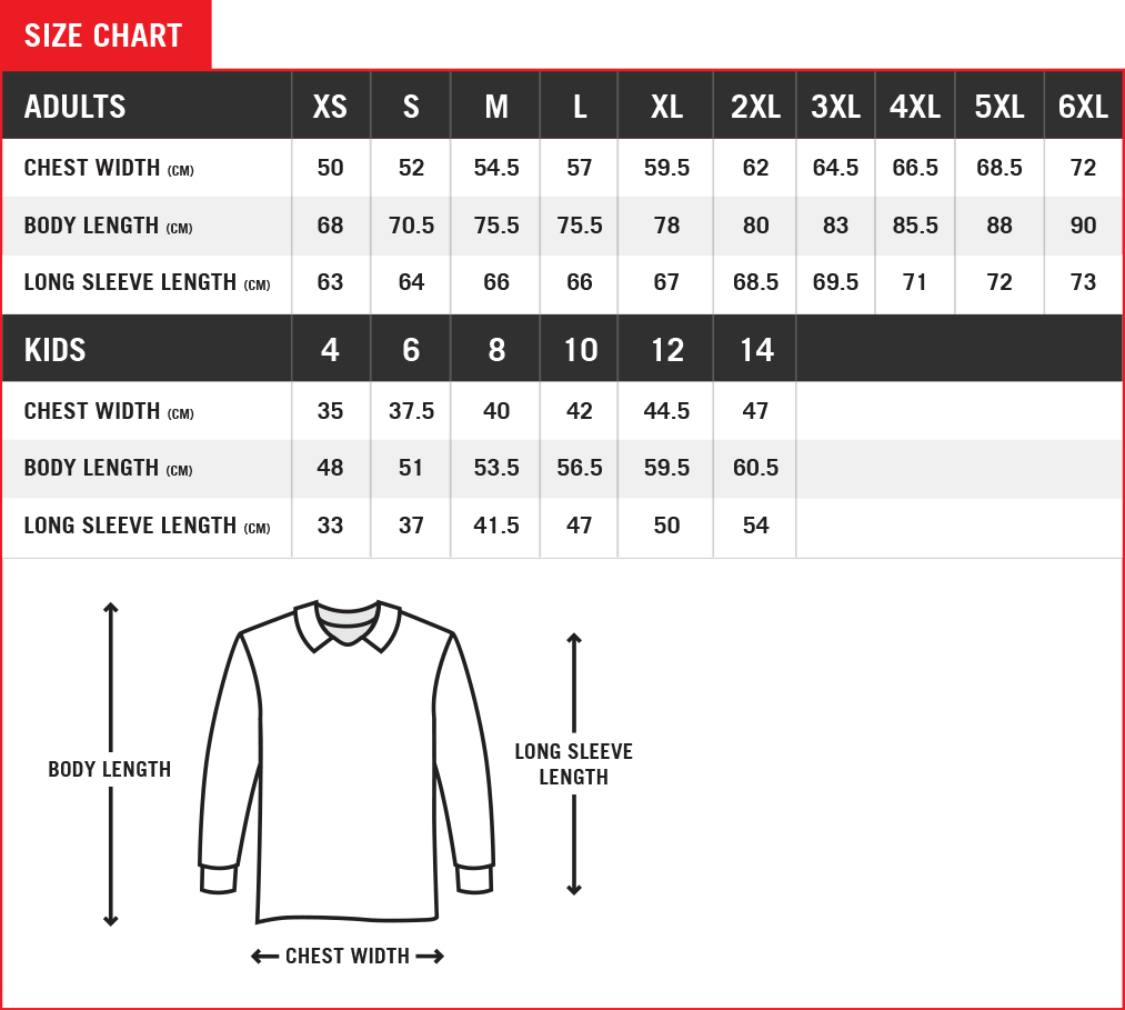 Fishing Jersey - Size Chart